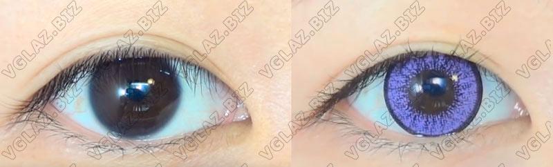 фиолетовые естественные линзы для карих глаз