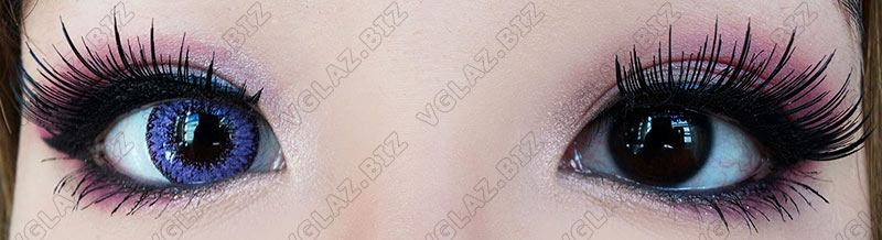 фиолетовые линзы для карих глаз фото до и после