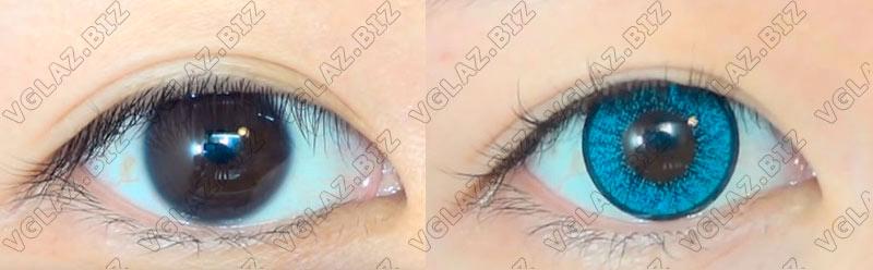 красивые голубые линзы для карих глаз