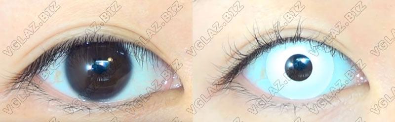 полностью белые линзы для карих глаз