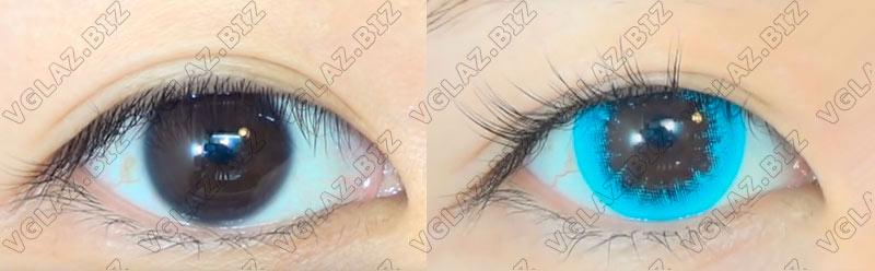 фото необычных увеличивающих голубых линз для карих глаз