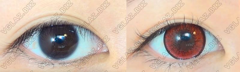 фото до и после красные линзы на карих глаза