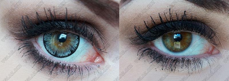 увеличивающие кукольные серые линзы для карих глаз