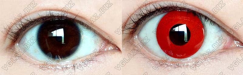 до и после - красные линзы на карих глазах