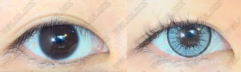 серые линзы, которые перекроют карие глаза