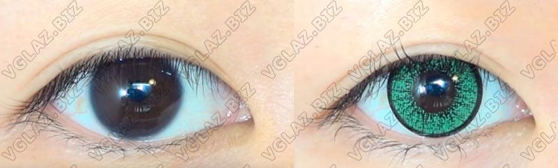 зеленые карие линзы для коричневых глаз
