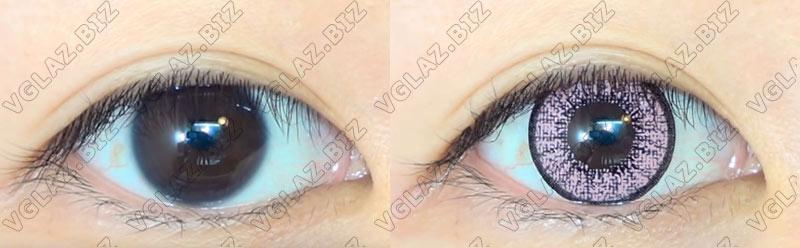 фото естественные розовые линзы для карих глаз