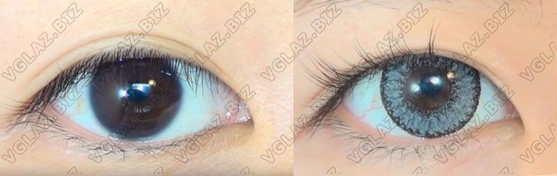 фото до и после серые линзы на темно карих глазах