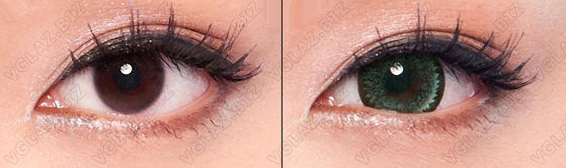 зеленые увеличивающие линзы на карих глазах