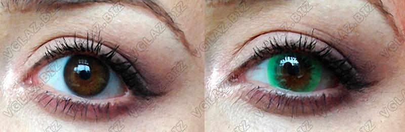 яркие зеленые линзы для карих глаз фото до и после