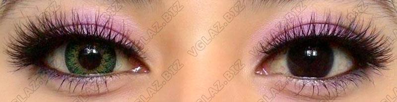 зеленые цветные линзы на карих глазах
