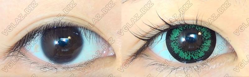 увеличивающие зеленые линзы с черным ободком для карих глаз